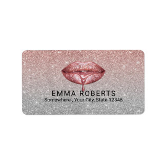 Rose Gold Dripping Lips Silver Glitter Salon Label