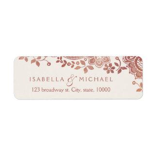 Rose gold elegant lace wedding return address return address label