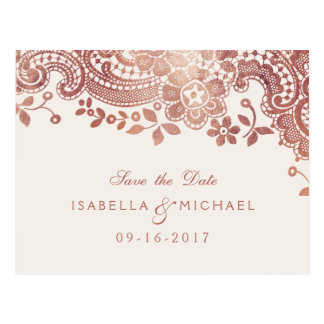 Rose gold elegant lace wedding save the date postcard