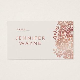 Rose gold elegant vintage lace wedding place cards