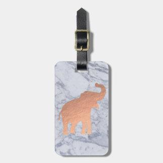 rose gold elephant design on marble bag tag