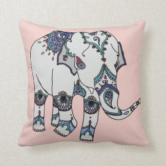Rose Gold Embellished Elephant Cushion
