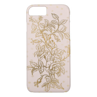 Rose Gold Embossed Style Outlined Roses iPhone 8/7 Case