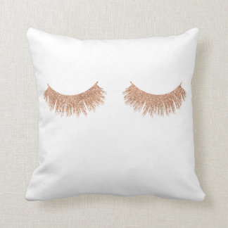 Rose Gold Eyelashes Beauty Throw Pillow