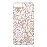 Rose Gold Faux Foil | White Floral Lattice iPhone 7 Case