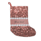 Rose Gold Faux Glitter and Diamonds Personalised Small Christmas Stocking