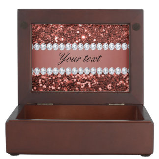 Rose Gold Faux Glitter and Diamonds Personalized Keepsake Box