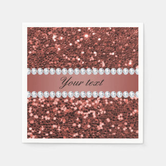 Rose Gold Faux Glitter and Diamonds Personalized Paper Napkins