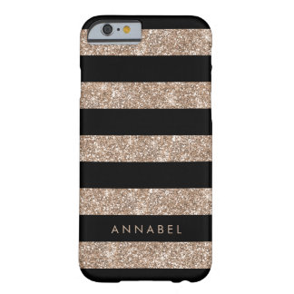 Rose Gold Faux Glitter & Black Stripe Personalized Barely There iPhone 6 Case