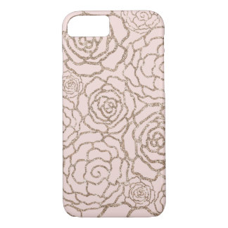 Rose Gold Faux Glitter | Blush Pink Floral Lattice iPhone 8/7 Case
