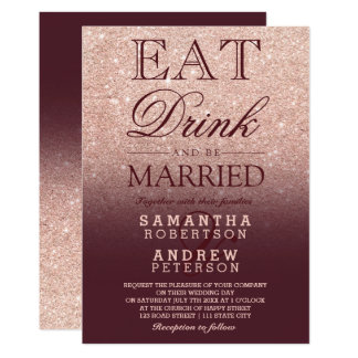 Rose gold faux glitter burgundy script wedding card