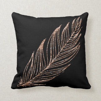 Rose Gold Faux Glitter Feather Black Throw Pillow