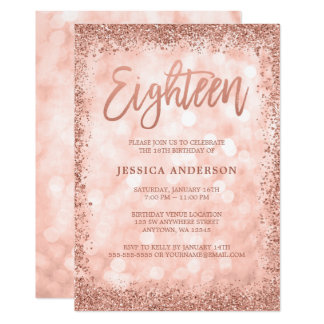 Rose Gold Faux Glitter Lights 18th Birthday Card