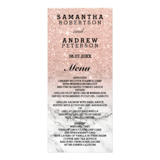 Rose gold faux glitter ombre marble wedding menu full colour rack card