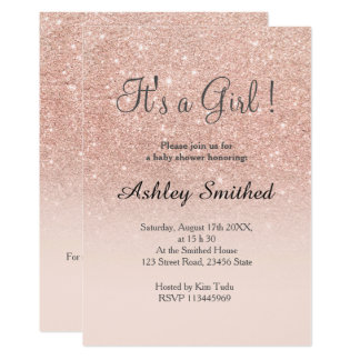 Rose gold faux glitter pink girl baby shower back card