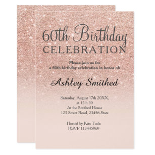 Rose Gold Faux Glitter Pink Ombre 60th Birthday Invitation