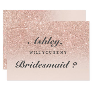 Rose gold faux glitter pink ombre be my bridesmaid card