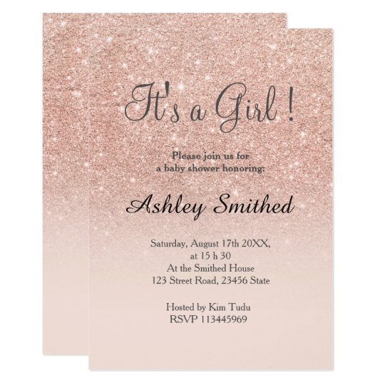 Rose gold faux glitter pink ombre girl baby shower card Zazzlecomau