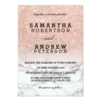 Rose gold faux glitter pink ombre marble wedding 13 cm x 18 cm invitation card