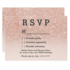 Rose gold faux glitter pink ombre RSVP wedding Card