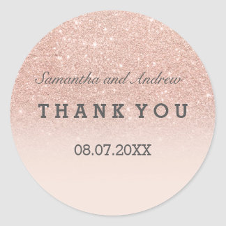 Rose gold faux glitter pink ombre Thank you Round Sticker
