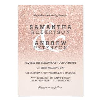 Rose gold faux glitter pink ombre wedding custom 13 cm x 18 cm invitation card