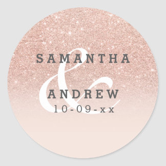 Rose gold faux glitter pink ombre wedding round sticker