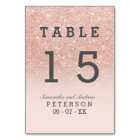 Rose gold faux glitter pink ombre wedding table table number