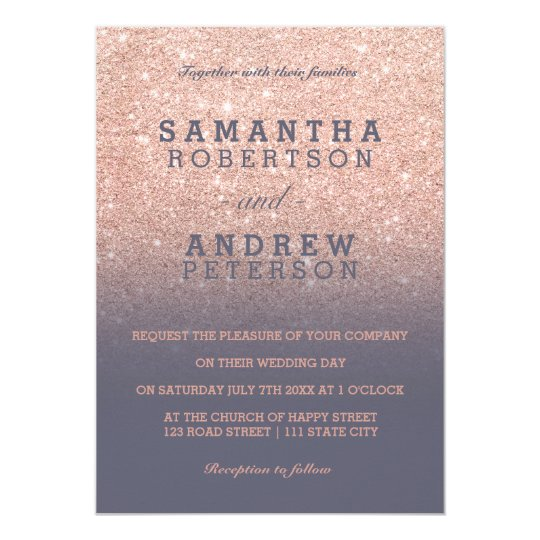 Rose gold faux glitter purple grey ombre wedding card