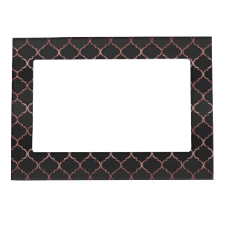 Rose gold faux glitter quatrefoil pattern magnetic picture frame