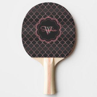 Rose gold faux glitter quatrefoil pattern ping pong paddle