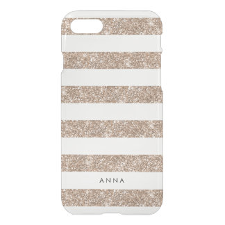 Rose Gold Faux Glitter Stripe iPhone 7 Case