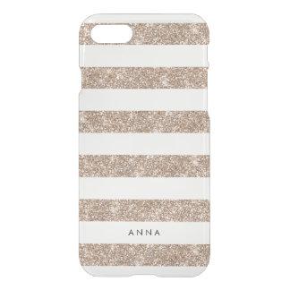 Rose Gold Faux Glitter Stripe iPhone 7 Case
