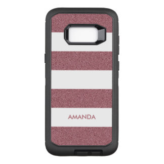 Rose Gold Faux Glitter white Stripe add your name OtterBox Defender Samsung Galaxy S8+ Case
