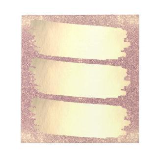 Rose Gold Faux Gold Foil Sparkle List Notepad