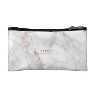 Rose-Gold Faux Marble Stone Cosmetic Bag