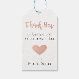Rose Gold Favor Tag- Wedding Thank You
