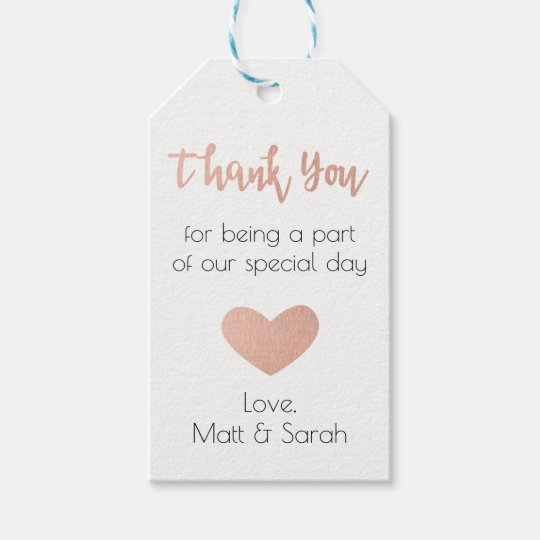 Wedding Thank You Gift Tags: Rose Gold Favor Tag- Wedding Thank You Gift Tags