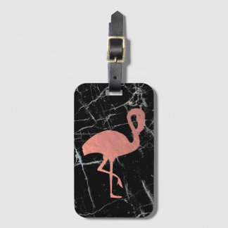 rose gold flamingo on black marble luggage tag
