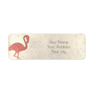 rose gold flamingo tropical return address label
