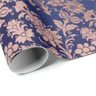 Rose Gold Floral Cottage Navy Damask Antonietta Wrapping Paper