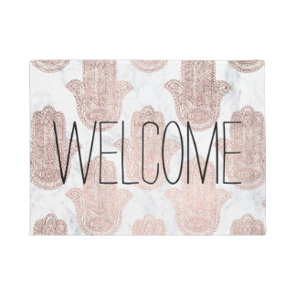 Rose gold floral lace hamsa hand white marble doormat