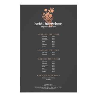 Rose Gold Floral Logo Dark Gray Salon Price List 14 Cm X 21.5 Cm Flyer
