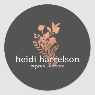 Rose Gold Floral Logo on Dark Gray Classic Round Sticker
