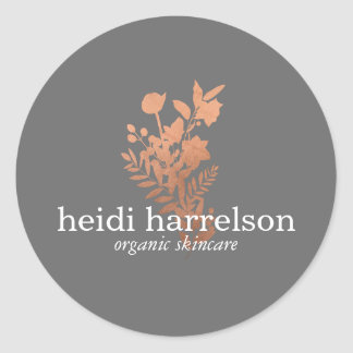 Rose Gold Floral Logo on Gray Classic Round Sticker