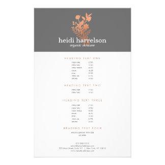 Rose Gold Floral Logo on Gray Salon Price List 14 Cm X 21.5 Cm Flyer