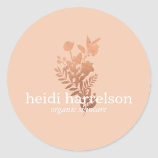 Rose Gold Floral Logo on Peach Classic Round Sticker