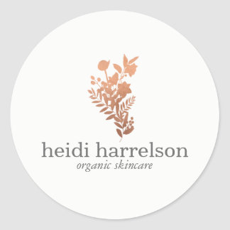 Rose Gold Floral Logo on White Classic Round Sticker