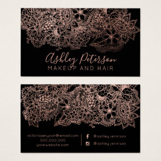 Rose gold floral makeup hair typography business card