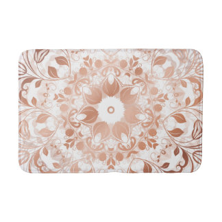 Rose Gold Floral Mandala Bath Mat
